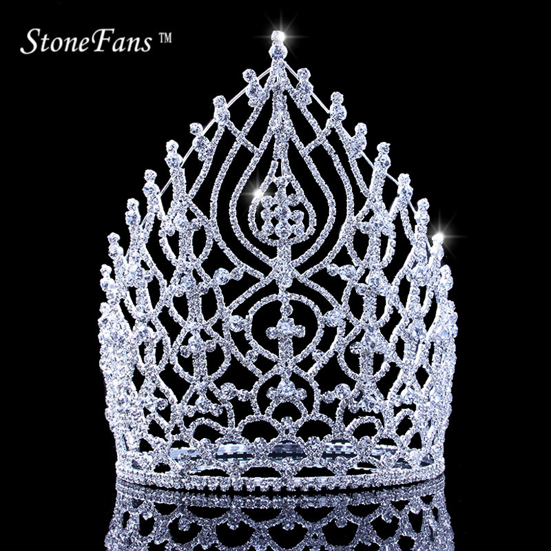 StoneFans Rhinestone Wedding Hair Accessories Jewelry Elegant Miss Crown For Women Bridal Big Crystal Crowns And Tiaras King