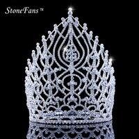 StoneFans Rhinestone Wedding Hair Accessories Jewelry Elegant Miss Crown For Women Bridal Big Crystal Crowns And Tiaras King