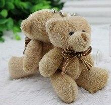 50pieces/lot 12cm Brown ribbon Bear cartoon bouquet bear doll plush joints Naked teddy bear doll mini bear doll