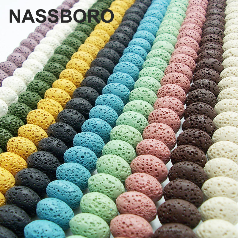 New 14 colors Lava Stone 10x15mm Volcanic Oval Oblate Shape Natural Stone Beads Wholesale DIY Bead Jewelry Bracelet Making