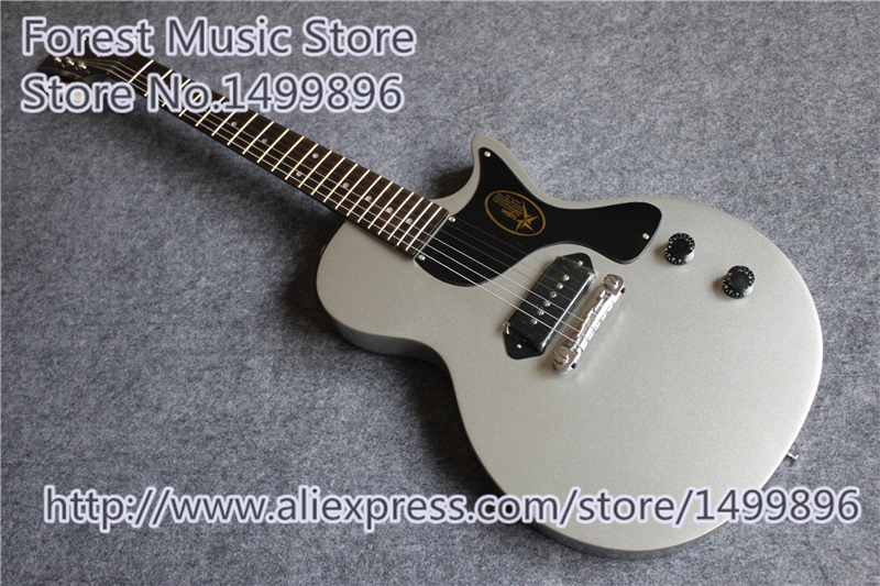 Top Quality China Classic Simplicity LP Junior 2015 Electric Guitars Matte Silver Guitarras Body & Kits Lefty Custom Available hot selling simplicity lp junior 2015 electric guitars in white color chinese mahogany guitar body for sale