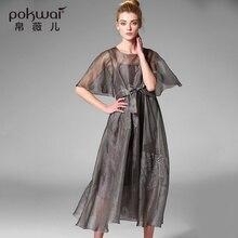 POKWAI Elegant Vintage Embroidery Summer Silk Dress Women Fashion High Quality 2017 New Short Butterfly Sleeve