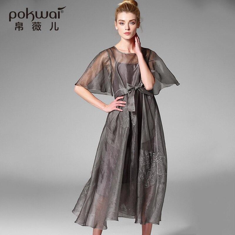 POKWAI Elegant Vintage Embroidery Summer Silk font b Dress b font font b Women b font