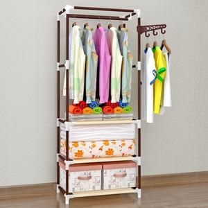 Image 2 - COSTWAY Clothes Hanger Coat Rack Floor Hanger Storage Wardrobe Clothing Drying Racks porte manteau kledingrek perchero de pie