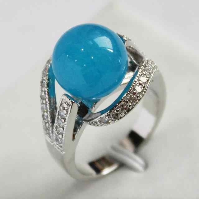 ร้อนขาย->@@เลดี้การออกแบบใหม่เครื่องประดับเงินชุบด้วยการตกแต่งคริสตัลและ12มิลลิเมตรแหวนหยกสีฟ้า(#7.8.9) #-top qualityฟรีsh