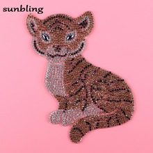 neue mode DMC strass patches benutzerdefinierte tiger design charakter luxus bling kristall eisen auf kleidung T-shirt DIY patch