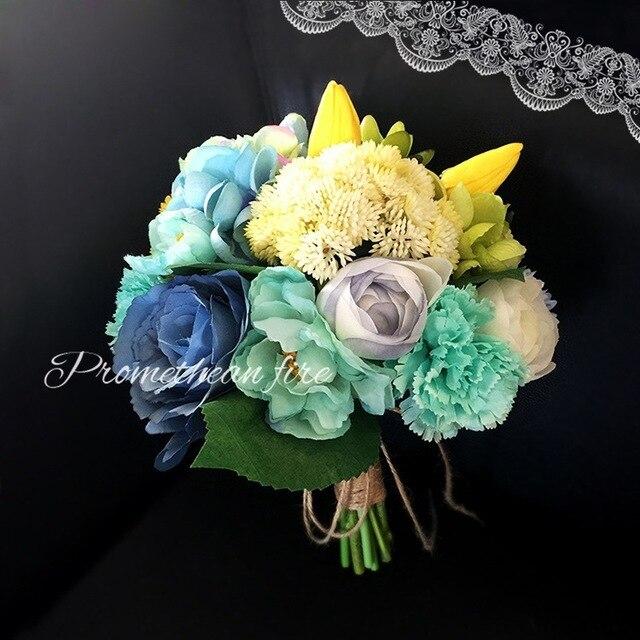 TiffanyBlue Artifial Цветок Свадебный Букет для Наружного Boho Свадебные Аксессуары Рамо де novia 2017 Невесты Брошь Букет