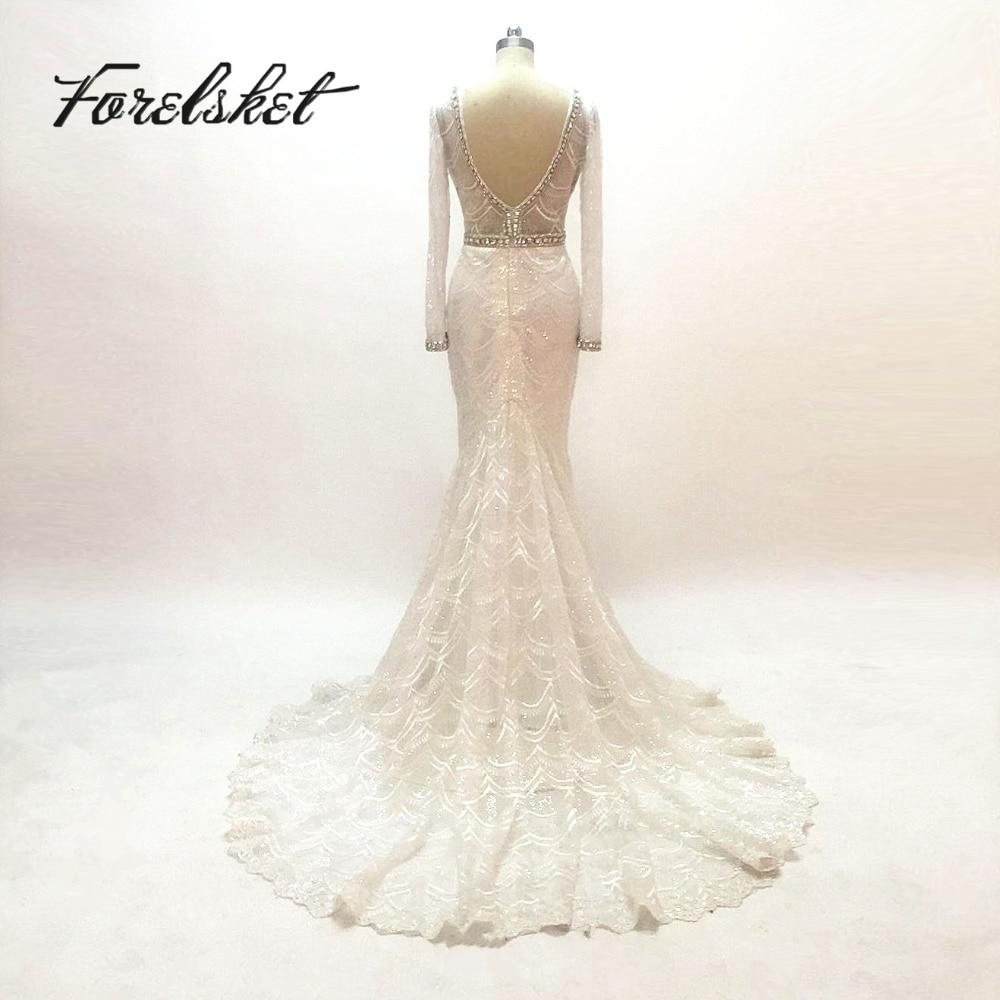 šitý na míru šatek Mermaid Svatební šaty 2015 dlouhé rukávy V - Svatební šaty - Fotografie 1