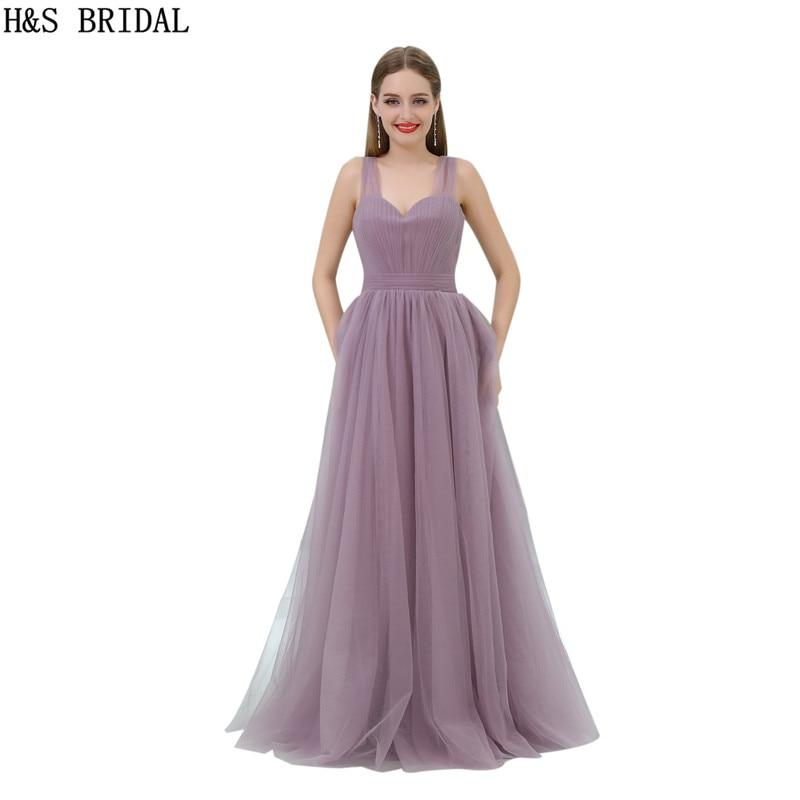 H & S mariée chérie Simple Tulle plissé robes de soirée longues drapées robes de bal avec bretelles dos nu vestido longo de festa