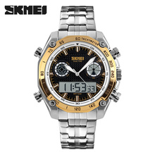 SKMEI 1204 Men Fashion Digital Dual Time Display Sports Watches Big Dial EL Light Alarm Clock Stainless Steel Strap Waterproof