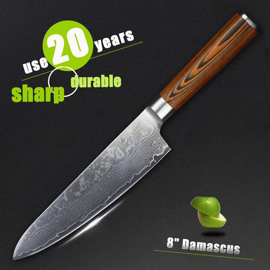HAOYE 8 palců Damascus kuchařský nůž japonský VG10 73 vrstev vysoce kvalitní kuchyňské nože ryby sashimi maso sekáček krásné dřevo dárek