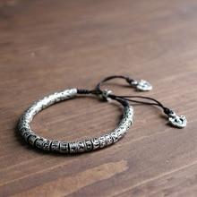 Eastisan Traditional Tibetan Buddhism Brass Bracelet Men Six Words Mantra OM MANI PADME HUM Antiqued Metal Amulet Beads Bracelet
