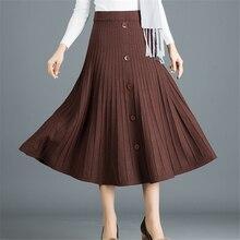 Women Pleated Skirt Elegant Women Knitted Skirts Womens Autumn Winter Woman Long Skirt Faldas Mujer Moda 2019 Women Midi Skirts