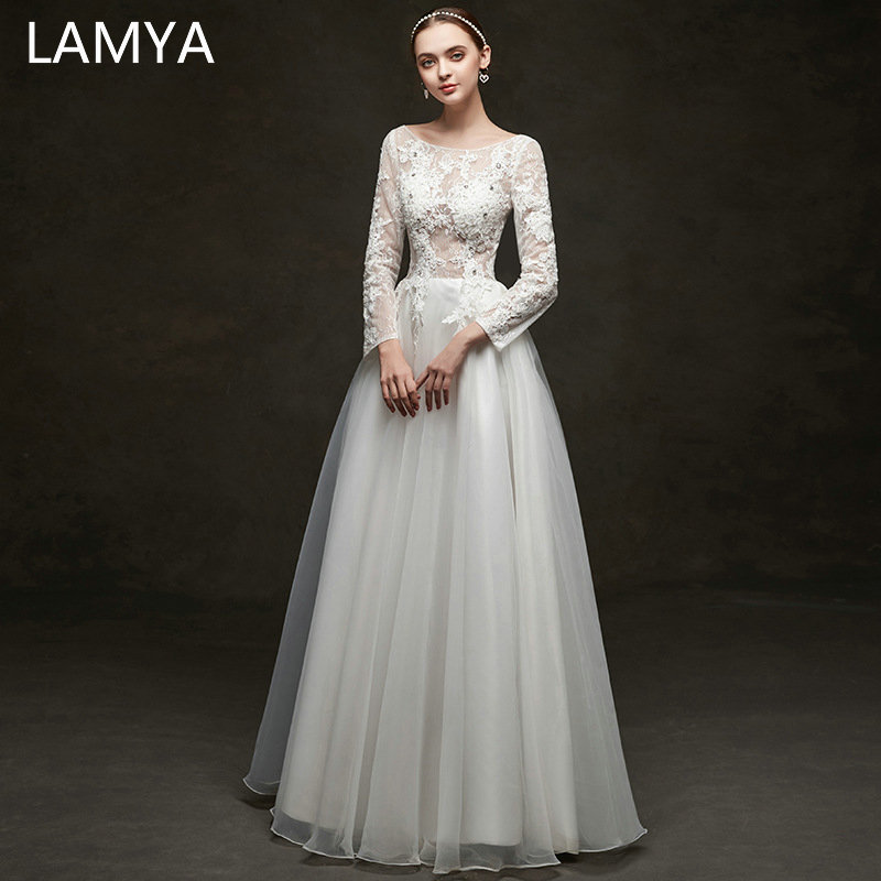 LAMYA dentelle dos nu robe de mariée manches complètes élégant Slim robes de mariée longueur de plancher personnalisé robe de mariée vestido de noiva