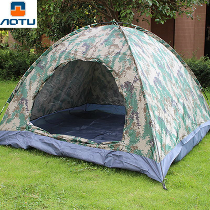 AOTU 3-4 Person Outdoor Camping Tent Folding Outdoor Camouflage 4 Seasons Camping Waterproof Tent Hiking Beach Tent rough guide phrasebook greek