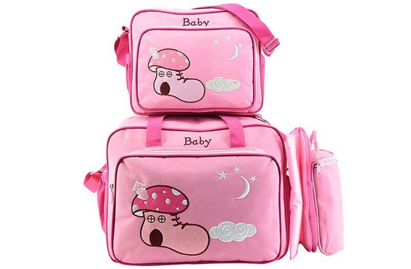 MOTOHOOD 4pcs Baby Diaper Bag Sets For Mom Maternity Baby Bag Organizer Bottle Bag + Nappy Map Cute Shoes Printing Nappy Bag (8)