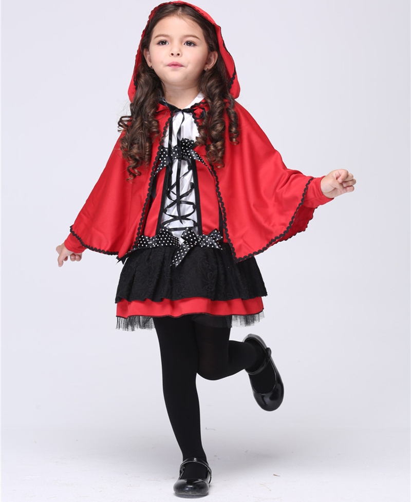 Halloween Children Cosplay Little Red Riding Hood Costume Girl Kids Children Princess Performance Red Party Dress