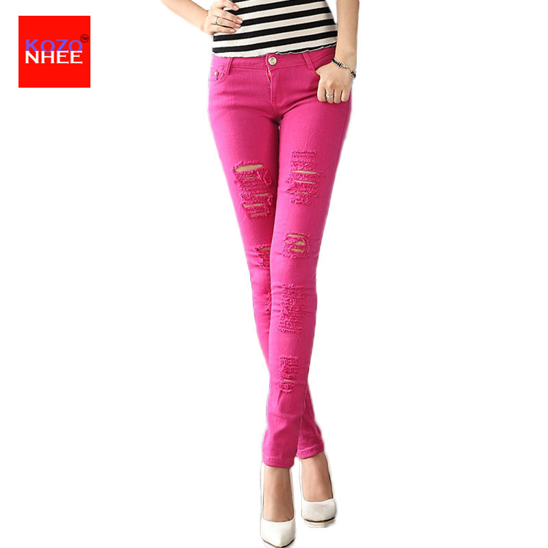 Color Stretching Ripped Jeans Women Washs
