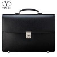 YINTE мужской портфель кожаная сумка мужская черная сумка большой емкости утолщение Fit 14 дюймов ноутбук сумка мессенджер Мужская тотализатор