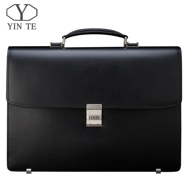 YINTE Men Briefcase Leather Bag Men Black Bag Large Capacity Thickening Fit 14 Inch Laptop Messenger Totes Portfolio T8556-5