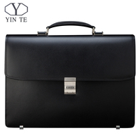 YINTE Men Briefcase Leather Bag Men Black Bag Large Capacity Thickening Fit 14 inch Laptop Messenger Totes Portfolio T8556 5
