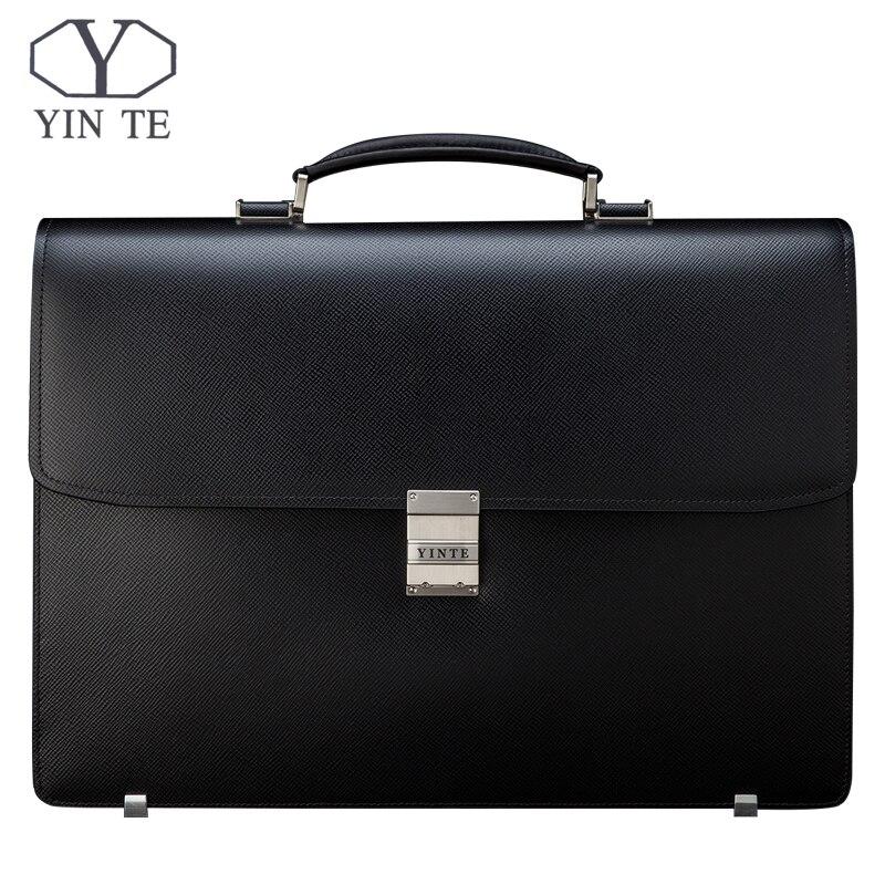 YINTE hommes porte-documents en cuir sac hommes noir sac grande capacité épaississement Fit 14 pouces ordinateur portable messenger Totes portefeuille T8556-5