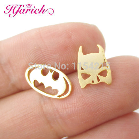 Top Selling Batman Themed Bat Mask and Logo Shaped Stud Earrings in Silver DC Comics Super Heroes Themed Jewelry EY-E076
