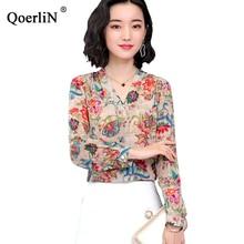 QoerliN Vintage Imitation Silk Blouse Women 2019 Spring Summer New Long Sleeve Slim Tops V-Neck Office Workwear Plus Size