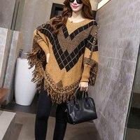 Women Swing Sweater Outwear Autumn Warm Cape Wrap Batwing Top Poncho Sweater Cardigan Coat Casual Pullover Knit Wear