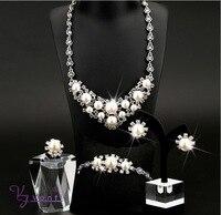 Kfvanfi Zinc Alloy Rhinestones Simulation Pearls Flower Jewelry Set Party Engagament Wedding Jewellery Set Bridal Jewelry For