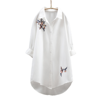 2019 autumn winter new women long white shirts office lady flower embroidery loose elegant blouse outwear tops