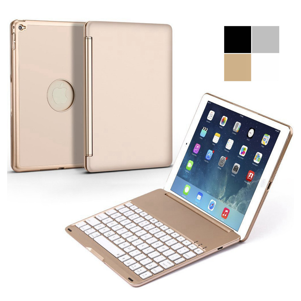 For <font><b>iPad</b></font> Air 2 <font><b>iPad</b></font> <font><b>6</b></font> Fashion 7 Colors Backlight Backlit Aluminum Wireless Bluetooth <font><b>Keyboard</b></font> With Stand Protective <font><b>Case</b></font> Cover image
