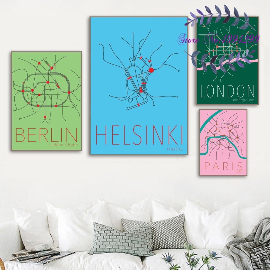 Berlin Subway Map Poster.Us 9 5 Helsinki London Paris Berlin Minimalist Underground Metro Subway Line Map Poster Canvas Art Print Home Decor In Painting Calligraphy From