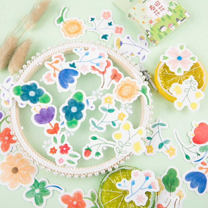 Diplomatic 46pcs/lot Spring Cute Flower Decorative Scrapbooking Sticker Child Toy Stickers Planner Diy Sticker Kawaii Stationery Gift Office & School Supplies