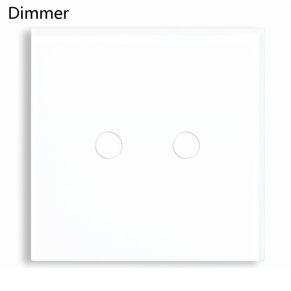 Bseed 240v Touch Dimmer 2 Gang 1 Way Touch Switch Dimmer Led With Glass Panel White Dimming Switch EU UK US AU Universal k1rf ltech one way touch switch panel ac200 240v input can work with vk remote page 2