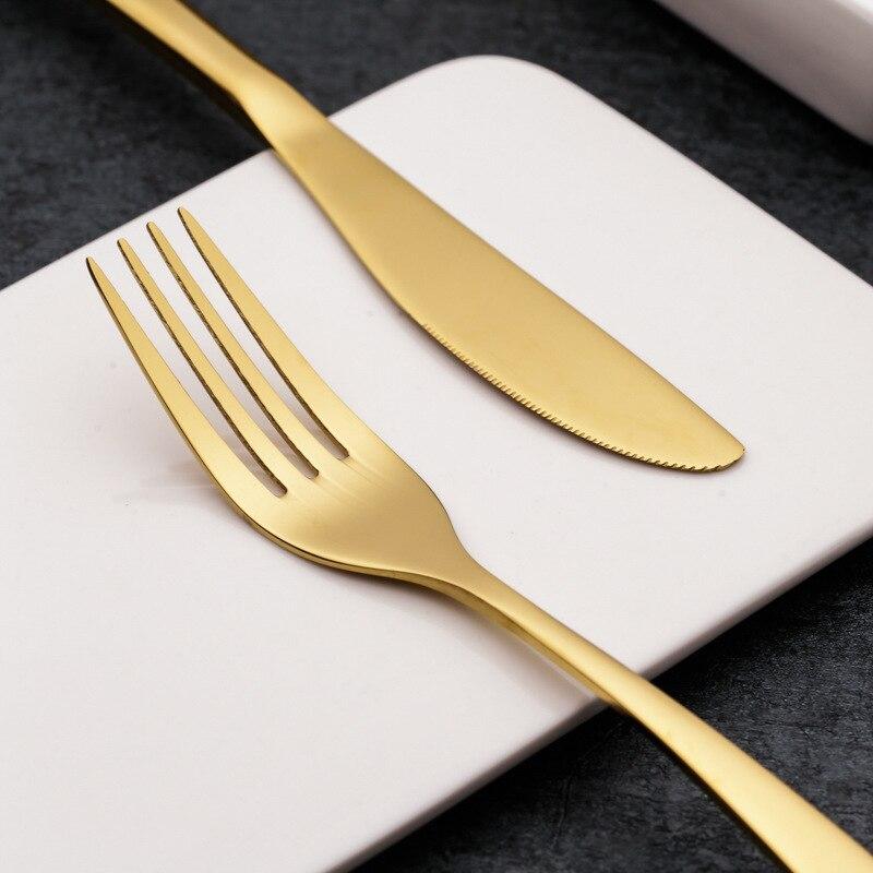 24 pièces titane couteau fourchette vaisselle ensemble or acier inoxydable Steak couteau fourchette cuillère ouest couverts ensembles - 3