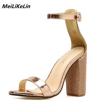 MeiLiKeLin Women Platform Sandals Summer Crystal Heel Block Square Heels Ladies Gold High Heels Party Wedding Shoes Woman Pumps sandal