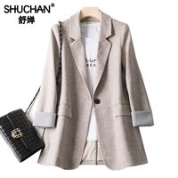 Shuchan Women Blazers Feminino Long Jackets Women Notched Single Button Solid Bleizer Mujer 2019 Office Lady jacket women autumn