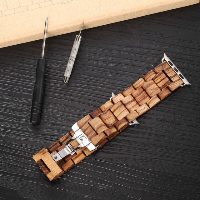 100% banda de madera natural para apple watch con adaptador de 42mm correa de reloj de madera de lujo banda iwatch
