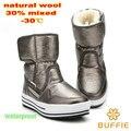 Натуральная шерсть 2016 зима женщины сапоги под 30 градусов теплый загрузки леди обуви мальчик сплошной цвет обуви девушка цветок водонепроницаемый снегоступы