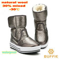 natural wool 2016 winter women boots under 30 degree warm boot lady shoe boy solid colour shoe girl flower waterproof snow boots