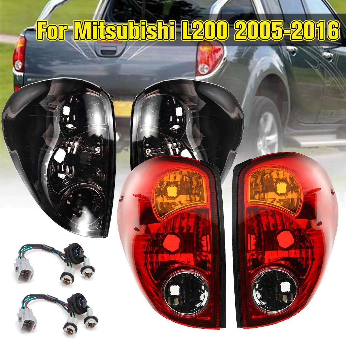 Car Taillights For Mitsubishi L200 Triton Colt 2005-2016 Pickup 1 Pair Rear Lamp Tail Lights Brake With Wire Replacement Smoke