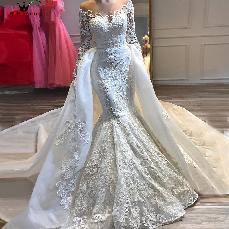 Detachable Skirt Mermaid Long Sleeve Tulle Lace Beaded Crystal Luxury Sexy Wedding Dress Bridal Gown Custom