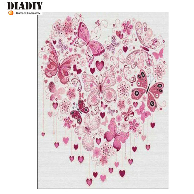 New Arrived Needlework 5d DIY Diamond Painting flower  Cross Stitch Diamond Embroidery butterfly home decoration craft