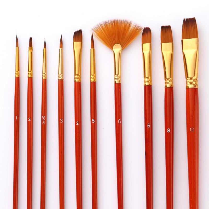 Paint Brushes Set Nylon Hair Painting Brush Short Rod Oil Acrylic Brush Watercolor Pen Professional Art Supplies 10Pcs/lot