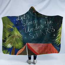3D Printed Camping Hooded Blanket For Adults Kids Soft Warm Fleece Bed Sofa Travel Throw Winter Manta
