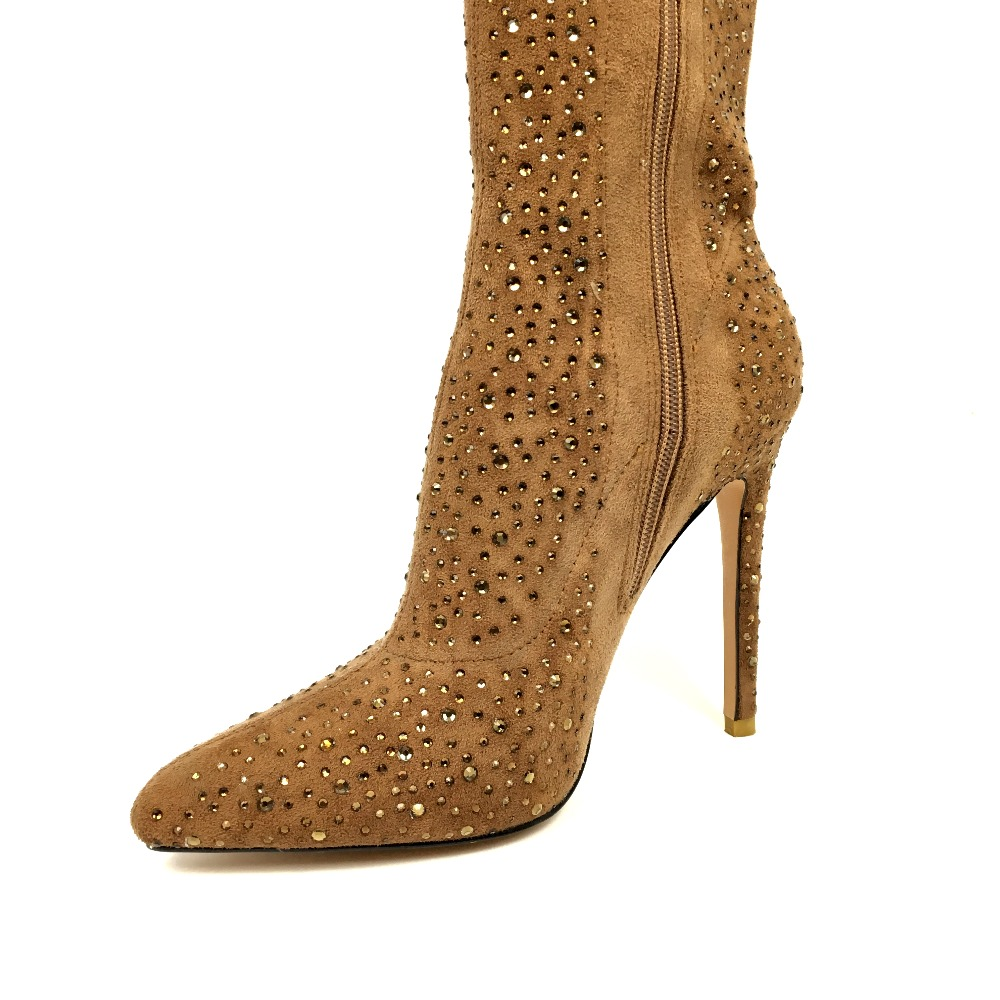 Longues Sur Cuissardes De Brun Bottes Femmes Cristal Le Hiver Suede Chaussures Bout Talons Hauts Mode Genou Parti Pointu Yw6H6q