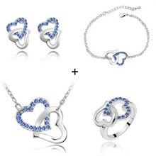 Wholesale Fashion Jewelry Austria Crystal Double Love Heart Pendants Necklace Bracelet Bangles Stud font b Earring
