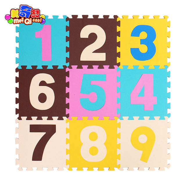 meiQicool 9pcs/set EVA Foam Play Mat Baby Puzzle Floor Mats Carpet Pad Toys For Children Environmental animal patternBaby & Toddler Toys