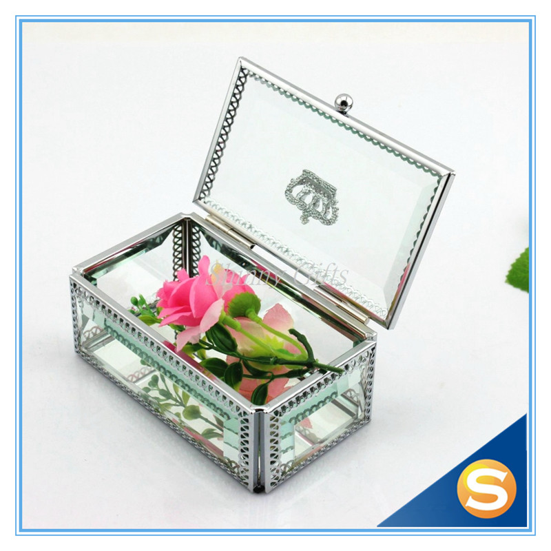 Wedding Preservation Boxes: Wedding Favor Crown Glass Jewelry Box Trinket Box Storage